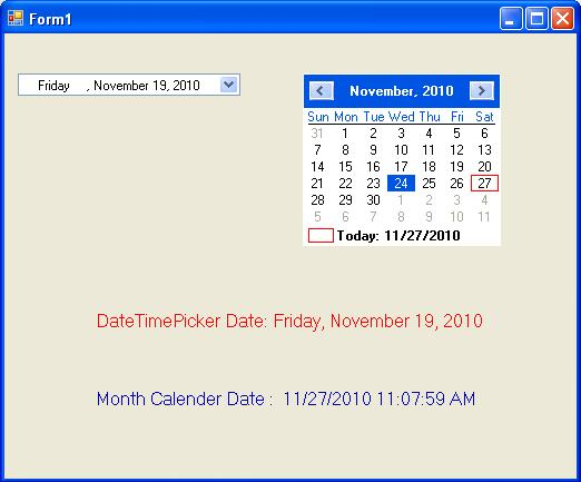 DateTimePicker and Month Calendar using C#