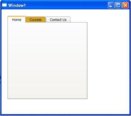 wpf tabcontrol template - tab control using wpf window based syntax of tabcontrol